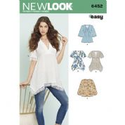 6452 New Look Pattern: Misses' Tops with Bodice and Hemline Variations